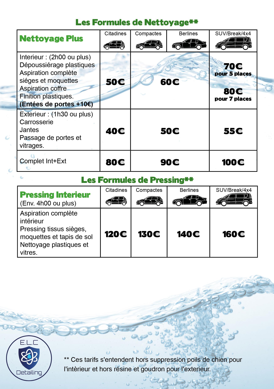 tarif nettoyage voiture
